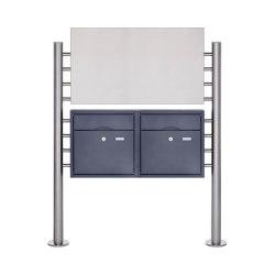 Premium | 2er Edelstahl Standbriefkasten PREMIUM BIG ST-R pulverbeschichtet mit Werbeschild 800x457 | Mailboxes | Briefkasten Manufaktur