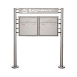 Premium | 2er Standbriefkasten PREMIUM BIG ST-R mit Beleuchtungskasten 800x100x50 aus Edelstahl | Mailboxes | Briefkasten Manufaktur