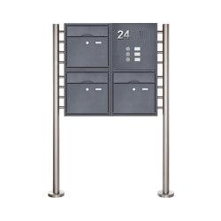 Premium | 3er 2x2 Standbriefkasten PREMIUM BIG mit Klingeltableau aus Edelstahl pulverbeschichtet in RAL Rechts | Mailboxes | Briefkasten Manufaktur