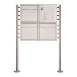 Premium | 3er 2x2 Standbriefkasten PREMIUM BIG ST-R aus Edelstahl gebürstet mit Klingeltableau Rechts | Mailboxes | Briefkasten Manufaktur