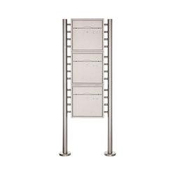 Premium | 3er 3x1 Standbriefkasten PREMIUM BIG ST-R aus Edelstahl gebürstet | Mailboxes | Briefkasten Manufaktur