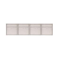 Premium | 4er 1x4 Aufputz Briefkastenanlage PREMIUM BIG aus Edelstahl gebürstet | Mailboxes | Briefkasten Manufaktur