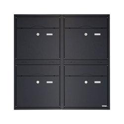 Premium | 4er 2x2 Aufputz Briefkastenanlage PREMIUM BIG AP aus Edelstahl pulverbeschichtet in RAL nach Wahl | Mailboxes | Briefkasten Manufaktur