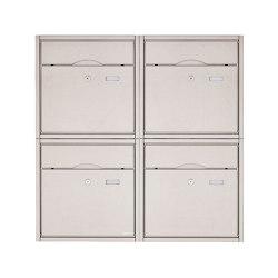 Premium | 4er 2x2 Aufputz Briefkastenanlage PREMIUM BIG aus Edelstahl gebürstet | Mailboxes | Briefkasten Manufaktur