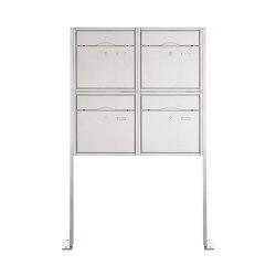 Premium | 4er 2x2 Standbriefkasten PREMIUM BIG ST-P aus Edelstahl gebürstet | Mailboxes | Briefkasten Manufaktur