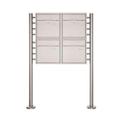 Premium | 4er 2x2 Standbriefkasten PREMIUM BIG ST-R aus Edelstahl gebürstet | Mailboxes | Briefkasten Manufaktur