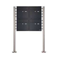 Premium | 4er 2x2 Standbriefkasten PREMIUM BIG ST-R aus Edelstahl pulverbeschichtet in RAL nach Wahl | Mailboxes | Briefkasten Manufaktur
