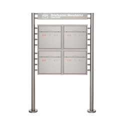 Premium | 4er 2x2 Standbriefkasten PREMIUM BIG ST-R mit Beleuchtungskasten 800x100x50 aus Edelstahl | Mailboxes | Briefkasten Manufaktur