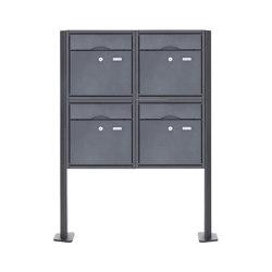 Premium | 4er 2x2 Standbriefkasten PREMIUM BIG ST-T pulverbeschichtet in RAL nach Wahl RAL 7016 anthrazitgrau feinstruktur matt | Mailboxes | Briefkasten Manufaktur