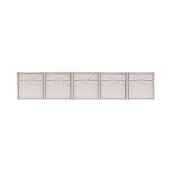 Premium | 5er 1x5 Aufputz Briefkastenanlage PREMIUM BIG aus Edelstahl gebürstet | Mailboxes | Briefkasten Manufaktur