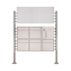 Premium | 5er 2x3 Standbriefkasten PREMIUM BIG aus Edelstahl gebürstet mit Klingeltableau und Werbeschild Rechts | Mailboxes | Briefkasten Manufaktur