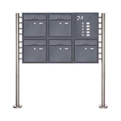 Premium | 5er 2x3 Standbriefkasten PREMIUM BIG mit Klingeltableau aus Edelstahl pulverbeschichtet in RAL Rechts | Mailboxes | Briefkasten Manufaktur