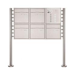 Premium | 5er 2x3 Standbriefkasten PREMIUM BIG ST-R aus Edelstahl gebürstet mit Klingeltableau Rechts | Mailboxes | Briefkasten Manufaktur