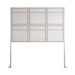 Premium | 6er 2x3 Standbriefkasten PREMIUM BIG ST-P aus Edelstahl gebürstet | Mailboxes | Briefkasten Manufaktur