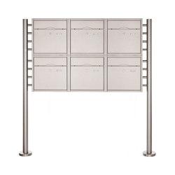 Premium | 6er 2x3 Standbriefkasten PREMIUM BIG ST-R aus Edelstahl gebürstet | Mailboxes | Briefkasten Manufaktur