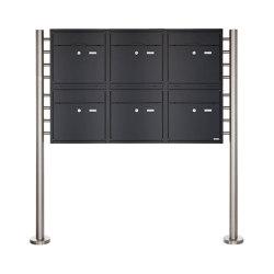 Premium | 6er 2x3 Standbriefkasten PREMIUM BIG ST-R aus Edelstahl pulverbeschichtet in RAL nach Wahl | Mailboxes | Briefkasten Manufaktur