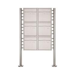 Premium | 6er 3x2 Standbriefkasten PREMIUM BIG ST-R aus Edelstahl gebürstet | Mailboxes | Briefkasten Manufaktur
