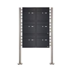 Premium | 6er 3x2 Standbriefkasten PREMIUM BIG ST-R aus Edelstahl pulverbeschichtet in RAL nach Wahl | Mailboxes | Briefkasten Manufaktur
