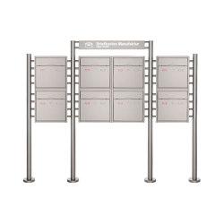 Premium | 8er 2x4 Standbriefkasten PREMIUM BIG ST-R mit Beleuchtungskasten 800x100x50 aus Edelstahl | Mailboxes | Briefkasten Manufaktur