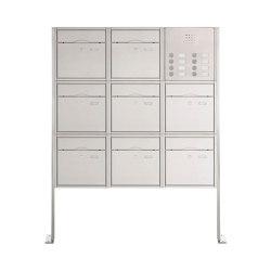 Premium | 8er 3x3 Standbriefkasten PREMIUM BIG ST-P aus Edelstahl gebürstet mit Klingeltableau Rechts | Mailboxes | Briefkasten Manufaktur