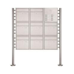 Premium | 8er 3x3 Standbriefkasten PREMIUM BIG ST-R aus Edelstahl gebürstet mit Klingeltableau Rechts | Mailboxes | Briefkasten Manufaktur