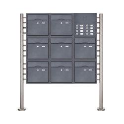 Premium | 8er 3x3 Standbriefkasten PREMIUM BIG ST-R mit Klingeltableau aus Edelstahl pulverbeschichtet in RAL Rechts | Mailboxes | Briefkasten Manufaktur