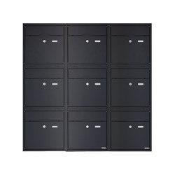 Premium | 9er 3x3 Aufputz Briefkastenanlage PREMIUM BIG AP aus Edelstahl pulverbeschichtet in RAL nach Wahl | Mailboxes | Briefkasten Manufaktur