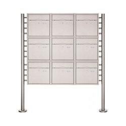 Premium | 9er 3x3 Standbriefkasten PREMIUM BIG ST-R aus Edelstahl gebürstet | Mailboxes | Briefkasten Manufaktur