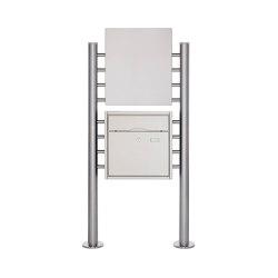 Premium | Edelstahl Standbriefkasten PREMIUM BIG ST-R mit Werbeschild 400x457 aus Edelstahl gebürstet | Mailboxes | Briefkasten Manufaktur