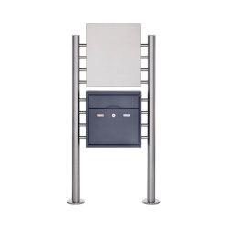 Premium | Edelstahl Standbriefkasten PREMIUM BIG ST-R pulverbeschichtet mit Werbeschild 400x457 aus Edelstahl | Mailboxes | Briefkasten Manufaktur