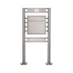 Premium | Standbriefkasten PREMIUM BIG ST-R mit 2 Beleuchtungskästen 400x100x50 aus Edelstahl gebürstet | Mailboxes | Briefkasten Manufaktur