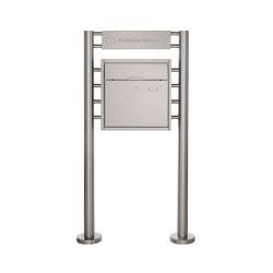 Premium | Standbriefkasten PREMIUM BIG ST-R mit Beleuchtungskasten 400x100x50 aus Edelstahl gebürstet | Mailboxes | Briefkasten Manufaktur