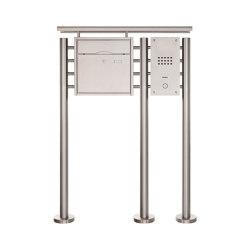 Premium | Standbriefkasten PREMIUM BIG ST-R3 aus Edelstahl gebürstet mit Klingeltableau und Regendach Rechts | Mailboxes | Briefkasten Manufaktur