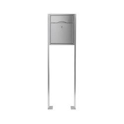 Premium | Standbriefkasten PREMIUM SMALL ST-P aus Edelstahl gebürstet ohne Zeitungsfach, rückseitig | Mailboxes | Briefkasten Manufaktur