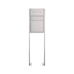 Premium | Standbriefkasten PREMIUM SMALL ST-P mit Klingelkasten aus Edelstahl gebürstet ohne Zeitungsfach, rückseitig | Mailboxes | Briefkasten Manufaktur