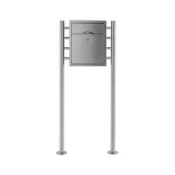 Premium | Standbriefkasten PREMIUM SMALL ST-R aus Edelstahl gebürstet ohne Zeitungsfach, rückseitig | Mailboxes | Briefkasten Manufaktur