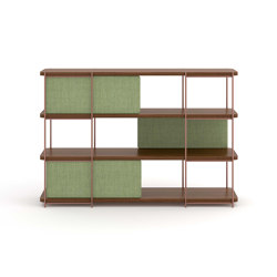 Julia walnut sideboard with uphostery doors | Shelving | Momocca