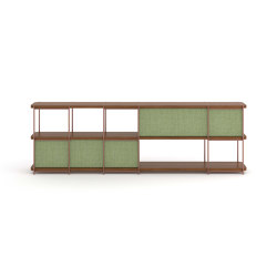 Julia Modular walnut sideboard with upholstery panels | Shelving | Momocca