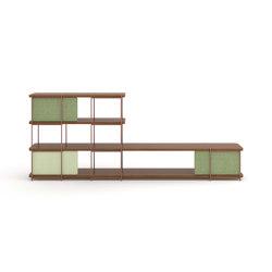 Julia walnut sideboard with sliding panels | Shelving | Momocca