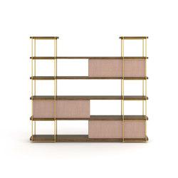 Estantería contemporánea  Julia de madera con paneles deslizantes | Estantería | Momocca