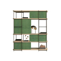 Julia Oak bookcase in light shades and green upholstered panels | Shelving | Momocca