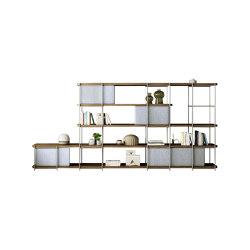 Système d'étagères de bureau Julia avec panneaux rembourrés en nickel | Étagères | Momocca
