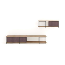 Julia Oak wood TV set furniture with hanging shelf | Multimedia sideboards | Momocca