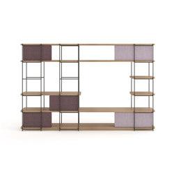 Julia Bookcase - TV cabinet set funiture with upholstery sliding panels   Shelving   Momocca