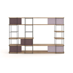 Julia Bookcase - TV cabinet set funiture with upholstery sliding panels | Shelving | Momocca