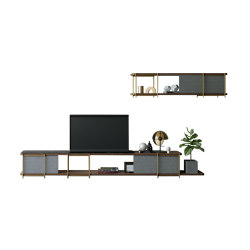 Julia Modular TV set furniture with marbre and steel with wood wall shelf | Multimedia sideboards | Momocca