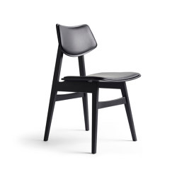 1960 Wood Chair Seat and backrest offset upholstery, Black Oak | Stühle | Rex Kralj