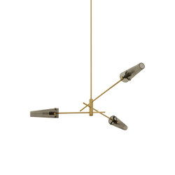 Axis pendant satin brass / smoked glass | Suspended lights | CTO Lighting