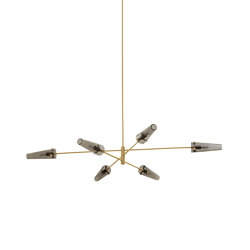 Axis large pendant satin brass / smoked glass | Suspended lights | CTO Lighting