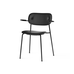 Co Chair, fully upholstered with armrest, Black | Black Oak | Dakar 0842 | Chairs | MENU
